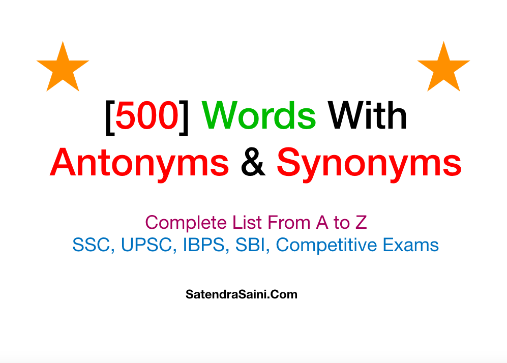 500 Words With Antonyms And Synonyms
