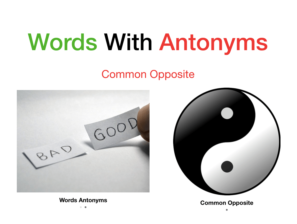 Words With Antonyms List a to z