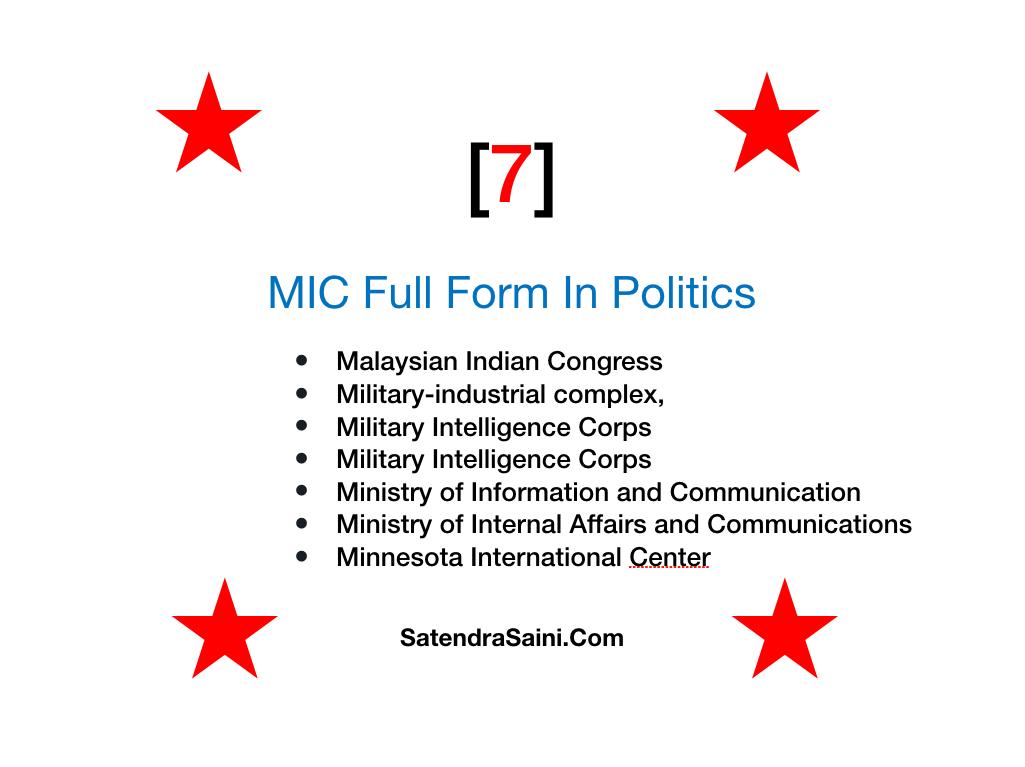 MIC full form In Politics