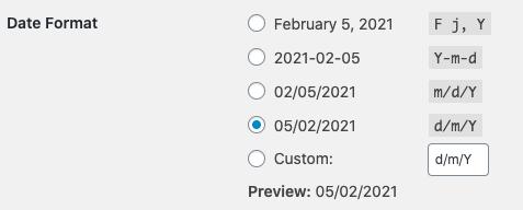 WordPress Time Format