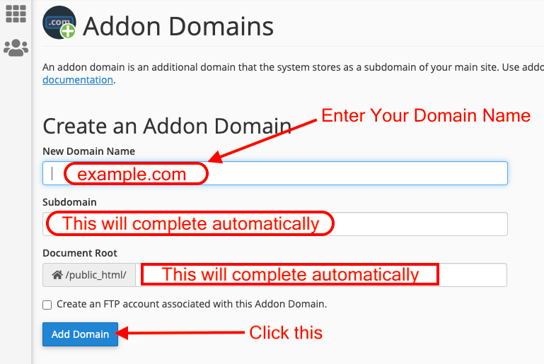 add domain name from cPanel