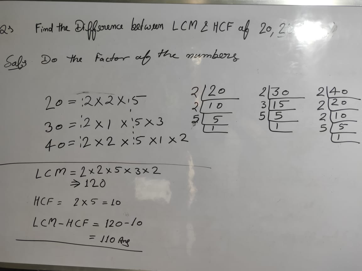 What is the difference between the LCM and HCF of the number 20 30 and 40