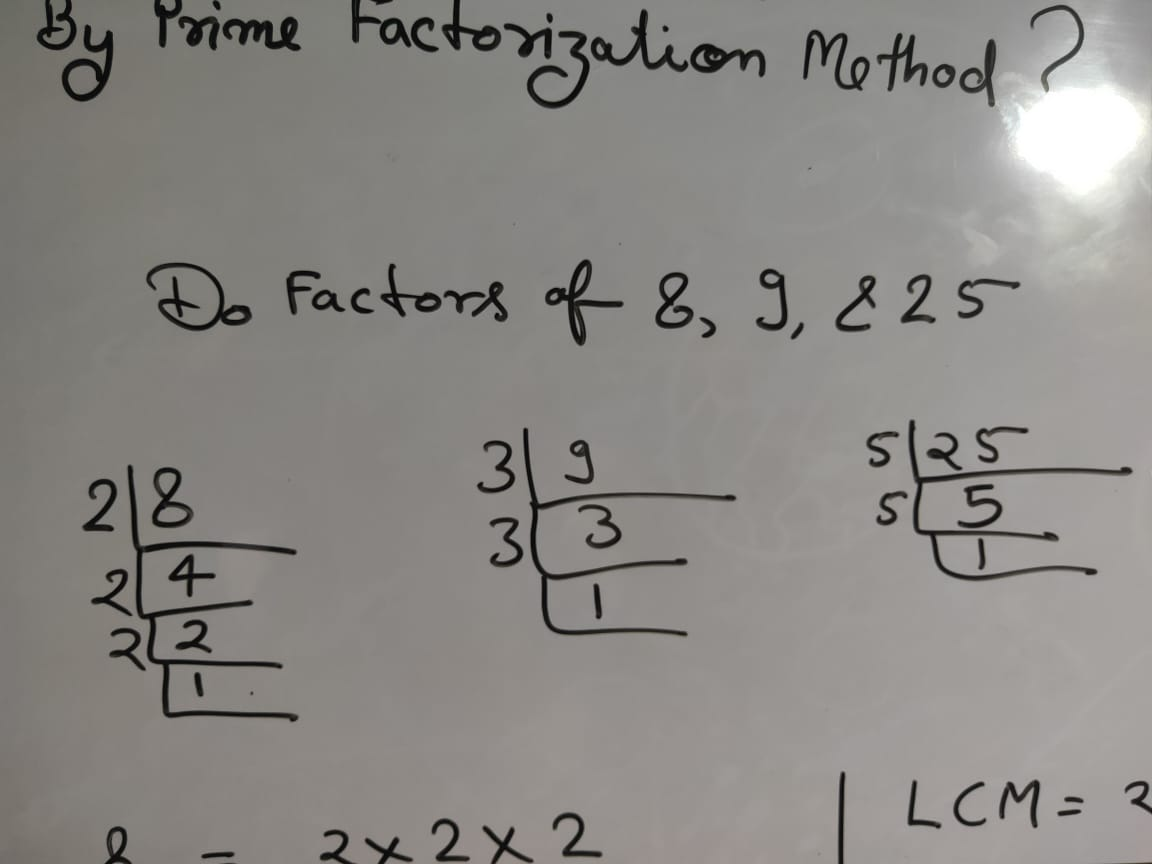 Find The LCM And HCF of 8 9 And 25 By Prime Factorization