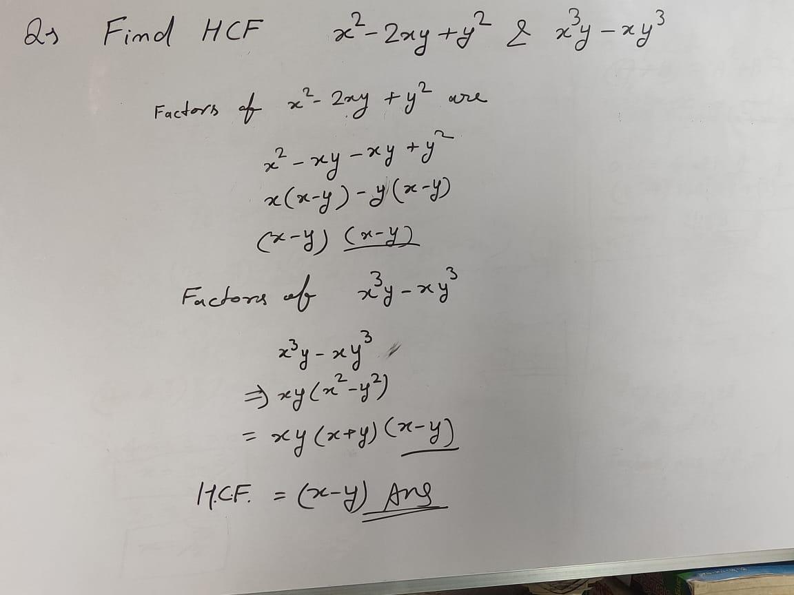 HCF Questions And Answers For Class 10 HCF of Polynomials By Factorization