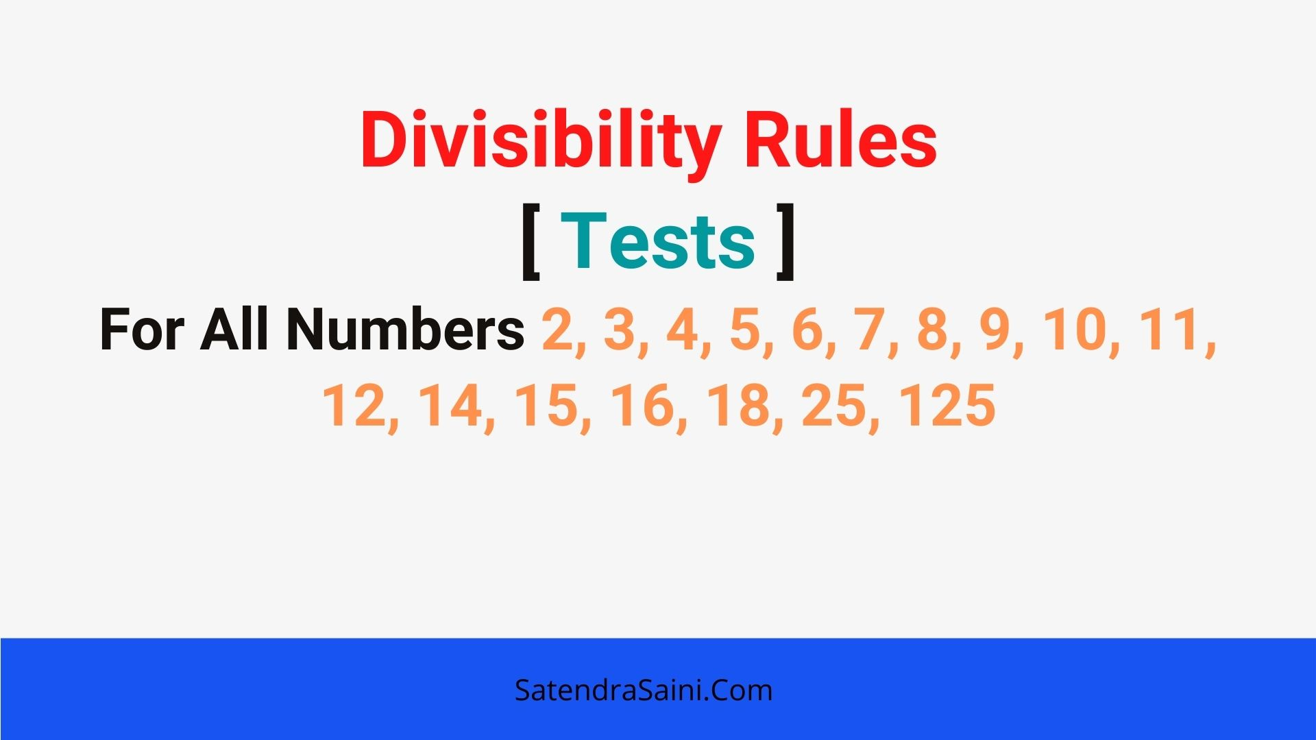 All Divisibility Rules [ Tests ] WorkSheet & PDF