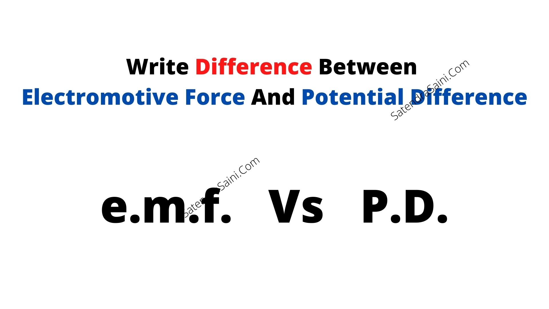 Write Difference Between Electromotive Force And Potential Difference