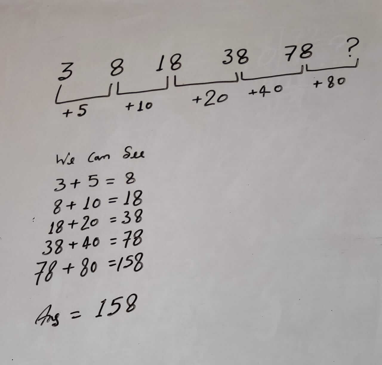 Find the Missing Number in the Series 3 8 18 38 78 ...