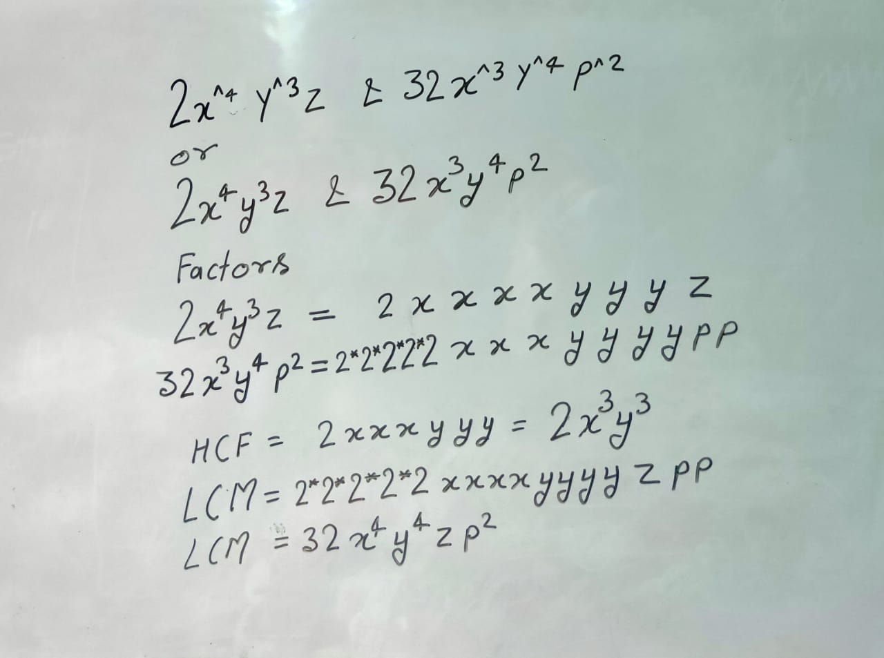 Find the HCF and LCM of 2x^4y^3z and 32x^3y^4p^2
