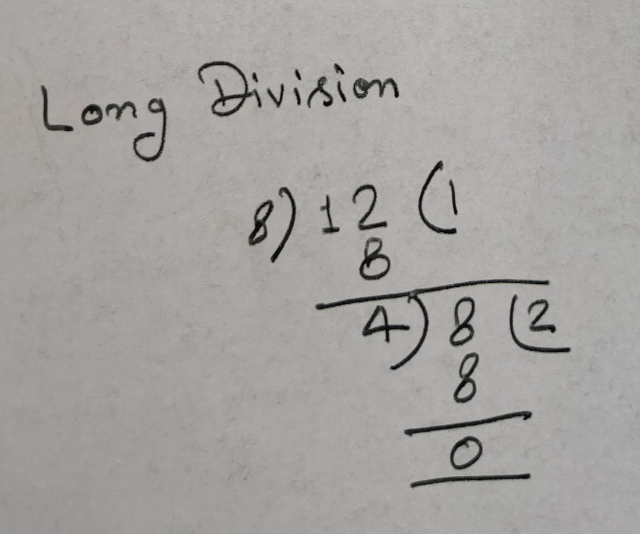HCF of 8 And 12 By Long Division Methods
