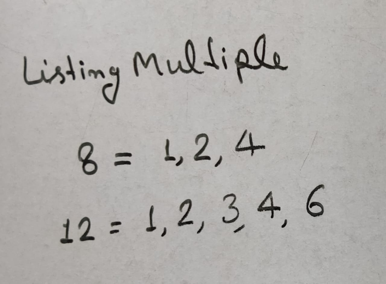 HCF of 8 And 12 By Listing Common Multiples